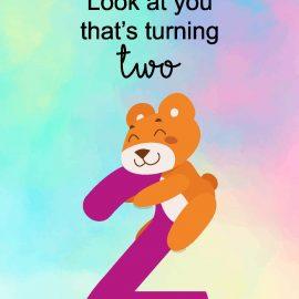 2 Year Birthday Bear Card